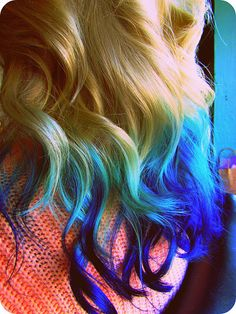 Sweet Blue Ombre Hair ...... If I could, I would so do this, I mean how cute is it!!!!!!!!