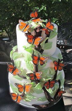 Butterfly Wedding Cake #Monarch #Butterfly #Wedding