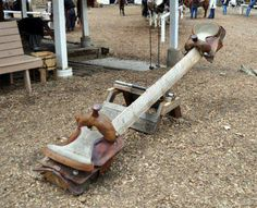 DIY Seesaw with saddles for seats! So farm and country!