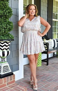 Making Magic Leopard Print Dress - Blush/Multi Foil - Free Shipping On Orders Over $75 Curvy Women Outfits, Curvy Women Fashion, Clothes For Women, Womens Fashion, Gold High Heel Sandals, Strap Sandals, Blush, Girls Night Out, Cute Designs