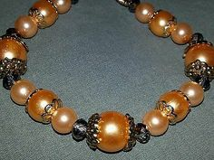 Childhood cancer awareness Gold glass pearl bracelet