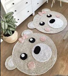 "Items similar to bear rug beige / pink ""bear girl"" nursery rug crocheted on Etsy A beautiful crochet carpet that is an eye-catcher in every room, especially in a children& / Nursery Rugs, Room Rugs, Animal Rug, Bear Rug, Crochet Carpet, Bear Girl, Diy Bebe, Crochet Amigurumi, Crochet Animals"