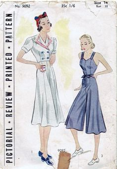 Vintage 1930s Pictorial Rev. 9092 Ladies Culotte Dress & Jacket Pattern-Sz 14,32