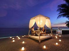 Romantic dinner by the beach at Puri Santrian, Sanur