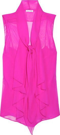 Oscar de la Renta For The Outnet: Sleeveless Tie Neck Silk Blouse
