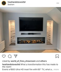 Fireplace Feature Wall, Feature Wall Living Room, Living Room Decor Fireplace, Fireplace Tv Wall, Living Room Setup, Living Room Wall Units, Living Room Tv Unit Designs, Modern Fireplace, Fireplace Design
