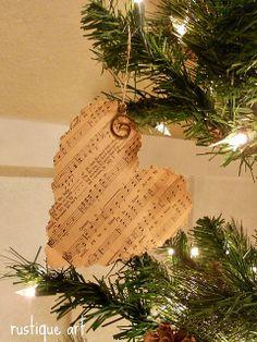 Sheet music heart ornament