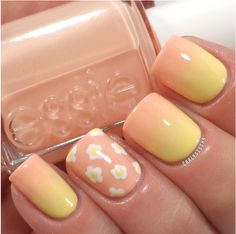 Ombre coral yellow nails
