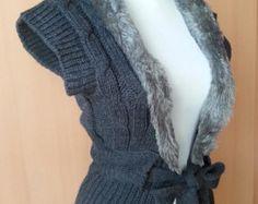 Vintage Winter Vest Faux Fur Vest Women Vest Jacket Winter Clothes Women Winter Clothing Ladiest  small size