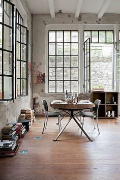 Loft dining large windows wooden floors