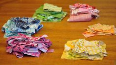 Organizing fabric scraps by color and use zip bags.