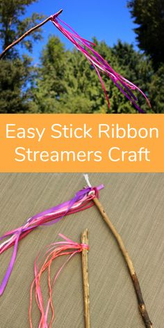 Let's make stick ribbon streamers! It's the perfect outdoor craft for warm weather and a little wind! If you are out camping with kids or playing in the backyard, these wind streamer stick wands are a fun and easy nature craft for kids! Encourage kids to Nature Activities, Craft Activities For Kids, Preschool Crafts, Toddler Activities, Projects For Kids, Art Projects, Bonding Activities, Summer Activities, Family Activities