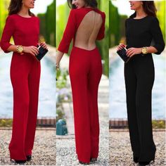 Women Lady Backless Formal Wedding Evening Party Cocktail Pants Jumpsuit Romper
