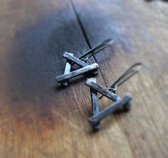 Triangle Earrings and Raw Sterling Silver  Minimal by COTELLE