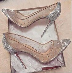cinderella stiletto heels / glitter pumps / women's shoes from Louboutin Cute Shoes, Me Too Shoes, Fancy Shoes, Prom Heels, Sparkly High Heels, Wedding High Heels, Shoes For Wedding, High Heels For Prom, Silver High Heels