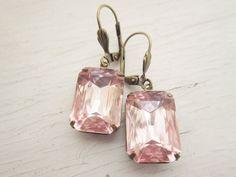 Blush Pink Earrings Vintage Earrings Bridesmaid Gift Dangle Pink Bridal Earrings Blush Pink Jewelry Pink Bridesmaid Earrings
