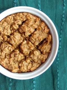 The Oatmeal Artist: Peanut Butter Cookie Baked Oatmeal. I added protein powder and an egg white & used pb2.