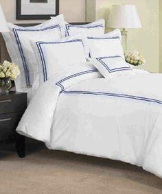 St Regis Hotel Style Collection KING Duvet Cover & Euro Shams Bed Set White Navy