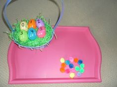 Numbered Easter Eggs with pom poms for preschool