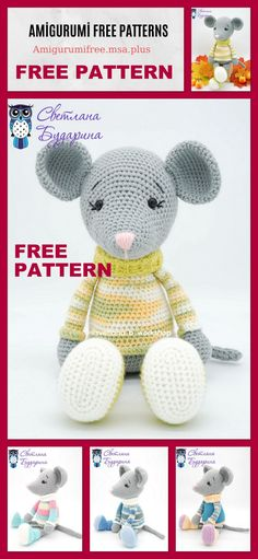 Amigurumi Mouse in a Sweater Free Pattern - Amigurumi Free Patterns, Toys Patterns granny squares - Granny Crochet Amigurumi Free Patterns, Knitting Patterns Free, Free Crochet, Free Knitting, Drops Baby, Pet Mice, Crochet Mouse, Stuffed Animal Patterns, Granny Squares