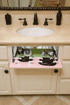 Turn the fake drawer in your cabinet into a hair dryer/straight iron storage space. Turn the fake drawer in your cabinet into a hair dryer/straight iron storage space. Bathroom Organization, Organization Hacks, Bathroom Ideas, Design Bathroom, Bathroom Inspiration, Bath Ideas, Bathroom Modern, Small Bathrooms, Bathroom Renovations