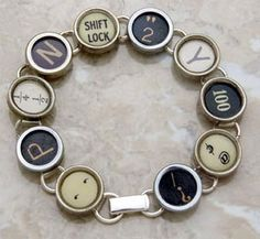 Recycled TYPEWRITER Key BRACELET MIXED Black And Light Keys One of  A Kind Unique. $34.99, via Etsy.