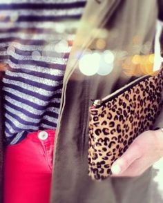 stripes, leopard, cargo and red, oh my! Leopard Clutch, Animal Prints, Fashion Prints, Scrubs, Makeup Ideas, Purses And Bags, Choices, Rest, Stripes