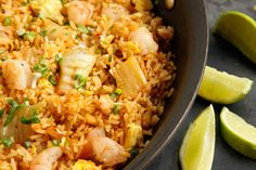 Kimchi and Shrimp Fried Rice Recipe  By Christine Gallary | A good way to use up leftover kimchi and steamed rice is in this fried rice dish. The kimchi adds crunch and spice; include some sautéed shrimp and you've got a complete dinner in just one pan.