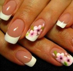 beautiful floral French nails