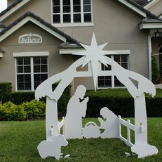 Outdoor Christmas Believe Sign with Outdoor Nativity Set
