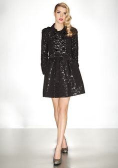 @ideeli - Betsey Johnson black double-breased trench dress - <3 combination of all of my favorite things, dresses, lace, and trenches!