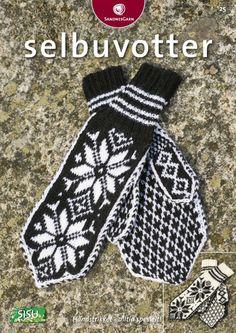 Kit 25 - Selbuvotter i Sisu Garn Pattern in Norwegian Knitting Books, Knitting Charts, Free Knitting, Knitting Patterns, Fingerless Mittens, Knit Mittens, Mitten Gloves, Mittens Pattern, Norwegian Style