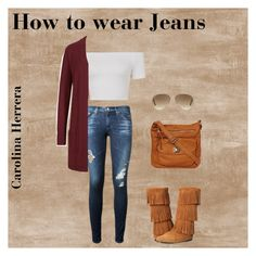 """How to wear Jeans "" by carolina-herrera0 on Polyvore featuring AG Adriano Goldschmied, M&S Collection, Black Rivet, Ray-Ban, Minnetonka, women's clothing, women's fashion, women, female and woman"