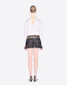 VALENTINO Painted Leather Skirt With Fringe. #valentino #cloth #