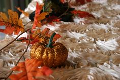 Modern Fall table at American Event Rentals. We made it unique with rosette linen. Perfect for Thanksgiving or any other fall event!