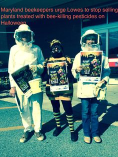 Beekeepers from the Maryland State Beekeepers Association visited three Lowe's stores in Maryland asking the store to stop selling bee-killing pesticides.