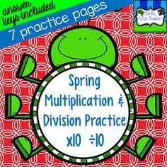 This spring-themed product has a variety of options for students to practice their multiplication and division tens facts.  There are seven different practice pages that include:-match problem to answer on rain boots-true/false equations (2 pages)-fact family houses (2 pages)-multiplication flowers-division butterfliesIve included answer keys for each practice page. $