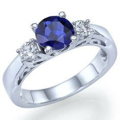 1.30 carats Round Cut Natural Blue Sapphire by ldiamonds on Etsy, $826.00