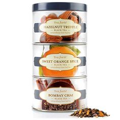 Tea Forte LOOSE LEAF TEA TRIO, 3 Small Tea Tins, Black Tea Sampler - Hazelnut Truffle, Sweet Orange Spice, Bombay Chai