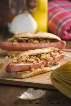 """Perrito caliente """"hot dog"""" a la manera tradicional.   Cocina y Aficiones"""