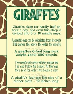 Safari Wild Adventure Printable Giraffe Facts Poster, and their tongues are purple and very long: inches Zoo Animals, Cute Animals, Large Animals, Beautiful Creatures, Animals Beautiful, Giraffe Facts, Safari, Animal Facts, My Spirit Animal