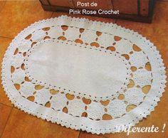 PINK ROSE CROCHET /: Tapete Oval com Flores
