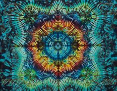 Large Premium Tie Dye Tapestry by Emerald Springs Spring Colors, rainbow, green, blue wall hanging