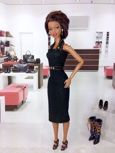 Barbie Doll Dress - Dark Denim Dress with Earrings and Shoes by EnchantedStyles…
