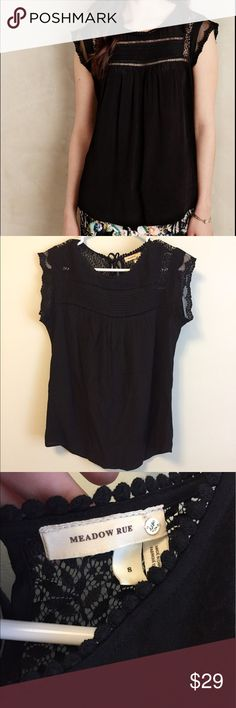 New Anthropologie Meadow Rue Norelle blouse lace Never worn Anthropologie Meadow Rue Norelle black blouse with lace detailing size small Anthropologie Tops Blouses