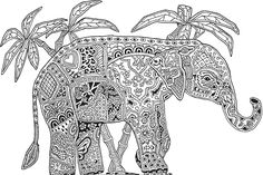 Abstract Elephant Coloring Pages For Adults Flower coloring pages