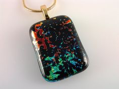 Dichroic Glass Pendant, Fused Glass Jewelry, Red Green Blue Dichroic Necklace