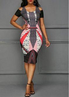 Printed Cutout Back Cold Shoulder Dress Latest African Fashion Dresses, African Print Dresses, African Wear, African Dress, Women's Fashion Dresses, Tight Dresses, Short Dresses, Classy Dress, Dress Backs