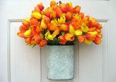 Tulip Wreath - Spring Wreath - Easter Wreath - Outdoor Wreath - Orange Wreath - Door Wreath Alternative by AWorkofHeartSA, $55.00