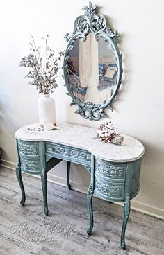 SOLD Glamorous, antique vanity that has been painted a delicate persian blue Silver details feature all around this desk It has a wrap around design so that it will be a showstopper at any angle You will never get tired looking at this beauty and - # Painting Wooden Furniture, Refurbished Furniture, Unique Furniture, Shabby Chic Furniture, Shabby Chic Decor, Rustic Furniture, Furniture Makeover, Diy Furniture, Outdoor Furniture